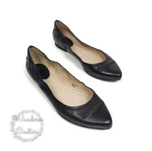 Frye Olive Seam Pointed Toe Leather Ballet Flats